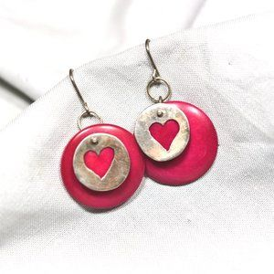 EUC Vintage Layered Heart Charm Dangle Earrings
